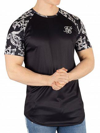 Sik Silk Black Silver Venetian Raglan T-Shirt