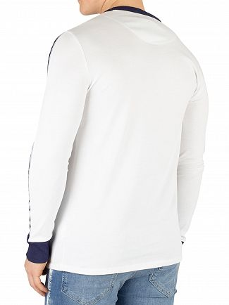 Sik Silk White Taped Contrast Cuff Longsleeved T-Shirt