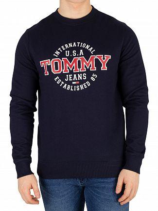 Tommy Jeans Black Iris Navy Circular Graphic Regular Sweatshirt