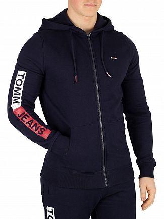 Tommy Jeans Black Iris Navy Essential Graphic Zip Regular Hoodie