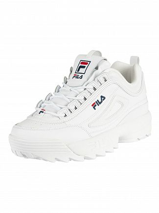 Fila Vintage White/Navy/Red Disruptor II Premium Trainers