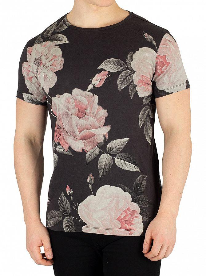 Religion Washed Black Summer Floral T-Shirt