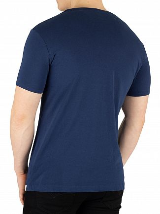 Scotch & Soda Teal Navy Ams Blauw Signature T-Shirt