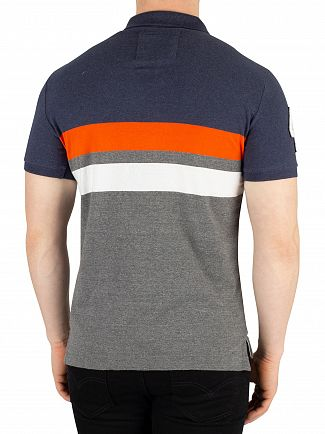 Superdry Bass Blue Heather Classic Terrace Jersey Polo Shirt