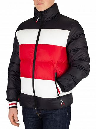 Tommy Hilfiger Jet Black Stripe Quilted Bomber Jacket