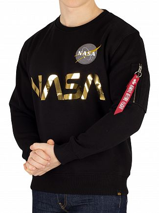 Alpha Industries Black/Gold NASA Reflective Sweatshirt