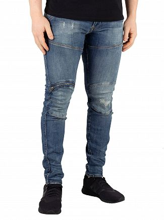 G-Star Dark Aged Antic Restored 5620 3D Zip Knee Skinny Jeans