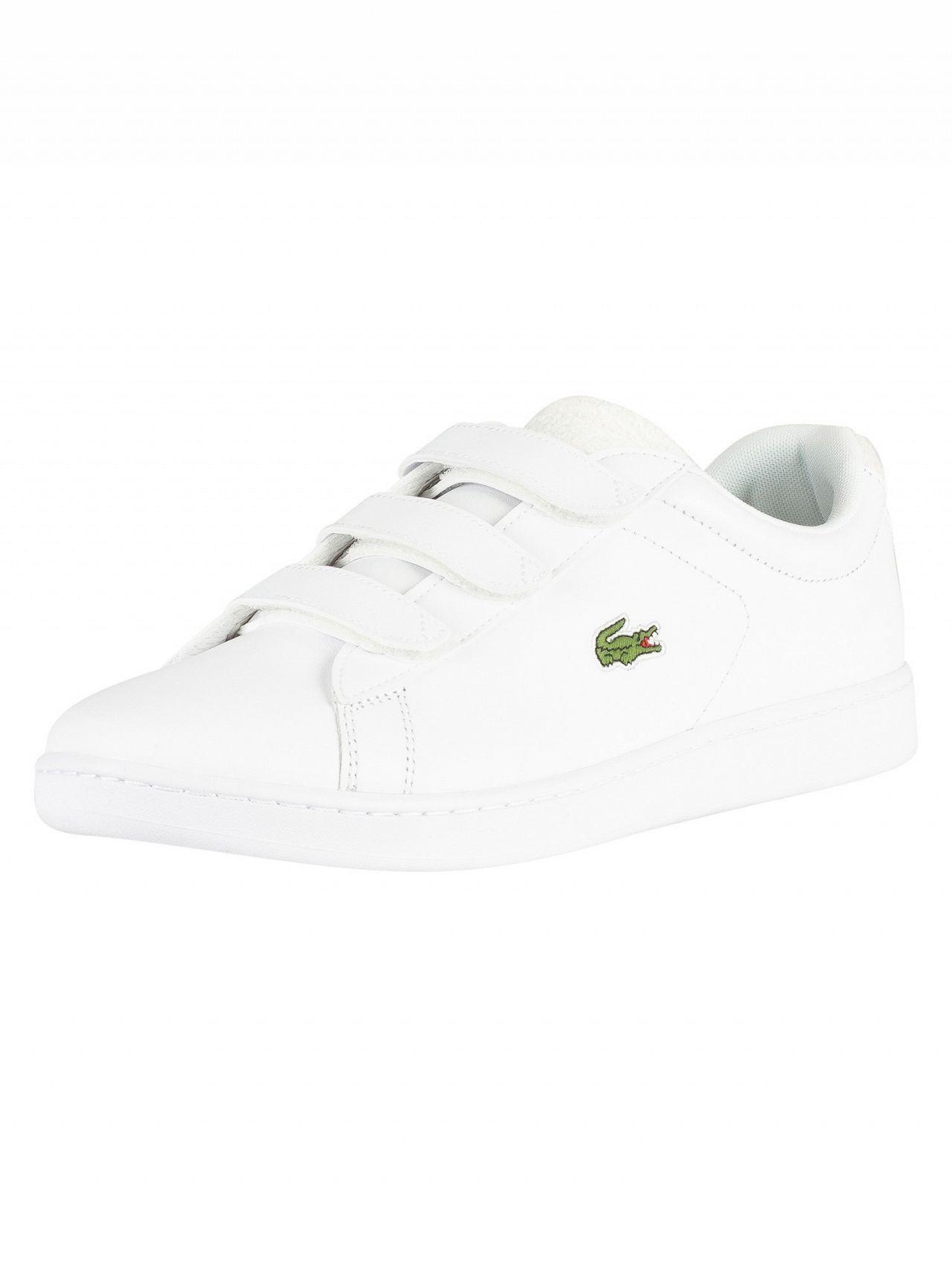 8dfa651ff1c168 Lacoste White Off White Carnaby Evo Strap 119 3 SMA Leather Trainers ...
