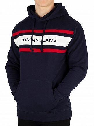 Tommy Jeans Black Iris Navy Fleece Relaxed Fit Pullover Hoodie