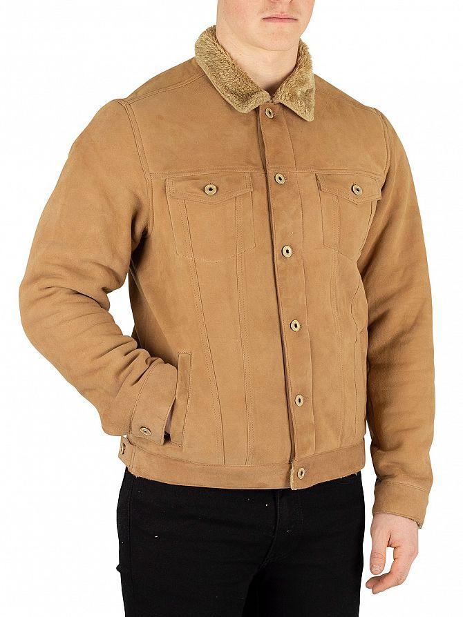 Scotch & Soda Brown Suede Trucker Jacket