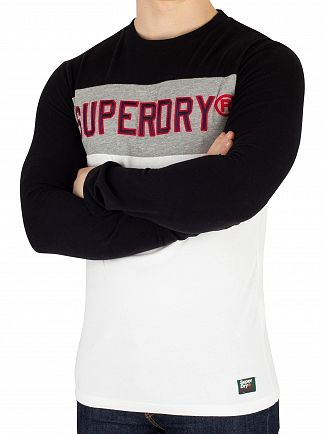 Superdry Jet Black Applique Colour Block Longsleeved T-Shirt