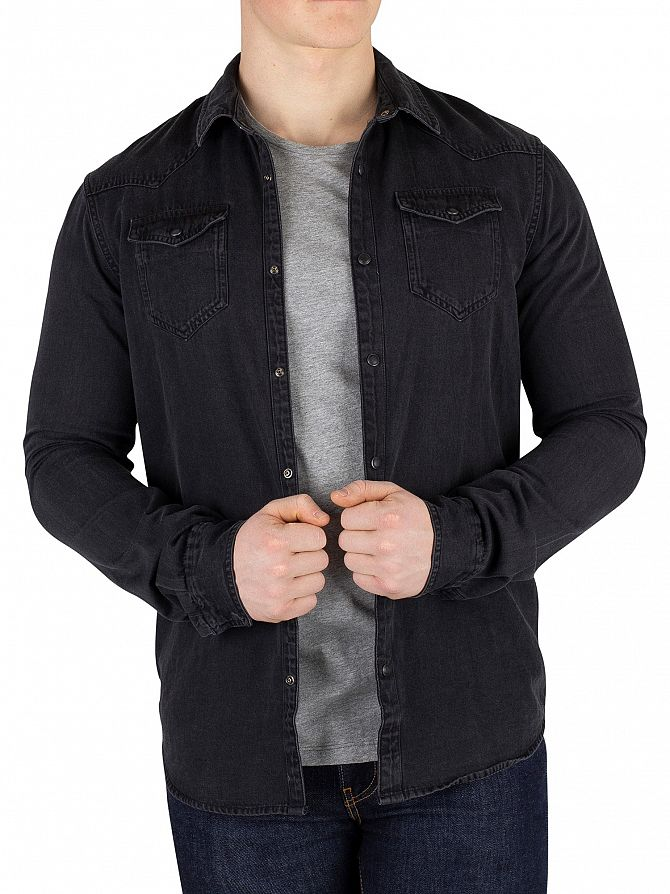 Scotch & Soda Black Slim Fit Ams Blauw Shirt