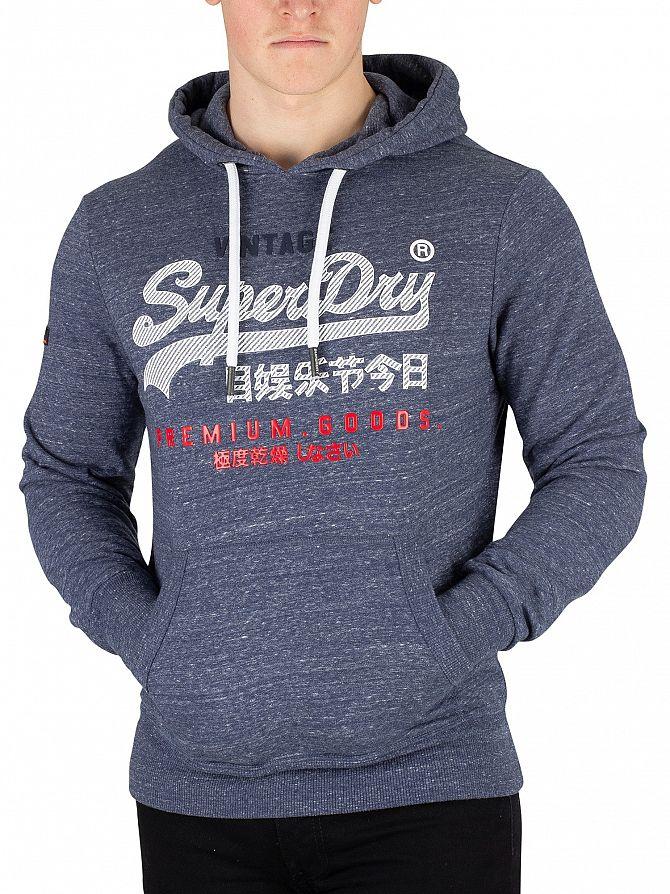 Superdry Pacific Blue Heather Premium Goods Pullover Hoodie