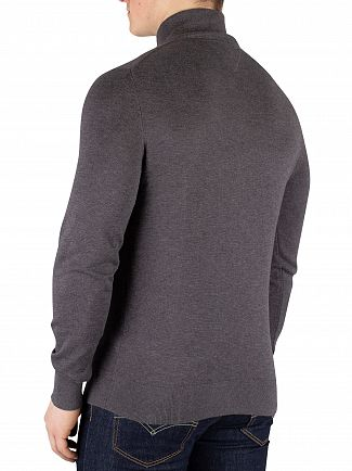 Tommy Hilfiger Magnet Heather Cotton Silk Zip Mock Knit
