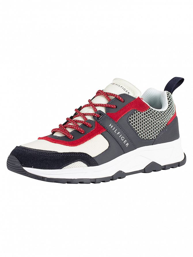Tommy Hilfiger Black/Beige Material Mix Lightweight Trainers