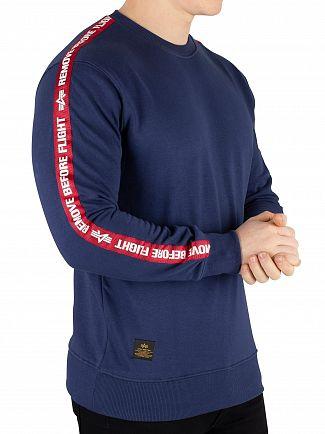 Alpha Industries New Navy Remove Before Flying Tape Sweatshirt