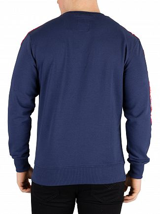Alpha Industries New Navy Remove Before Flying Tape Sweatshirt