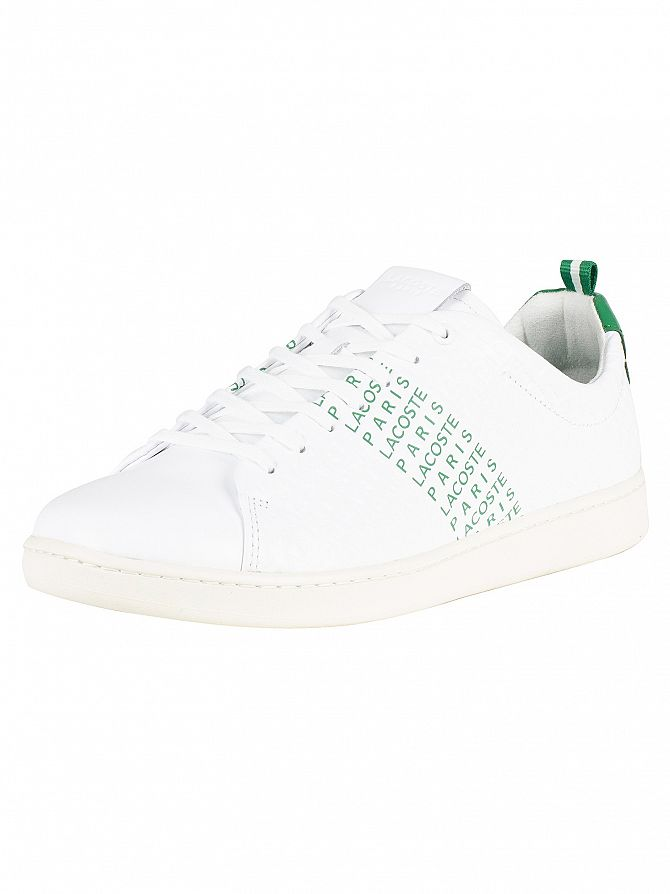 Lacoste White/Green Carnaby EVO 119 9 Leather Trainers