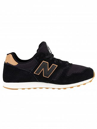 New Balance Black/Tan 373 Suede Trainers