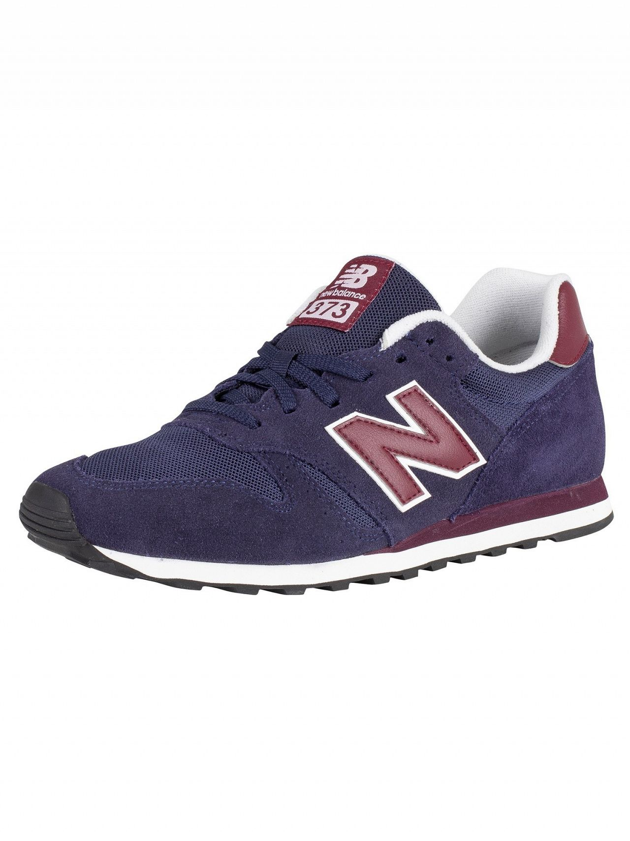 on sale 251b7 621a7 New Balance Navy Burgundy 373 Suede Trainers