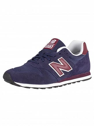 New Balance Navy/Burgundy 373 Suede Trainers