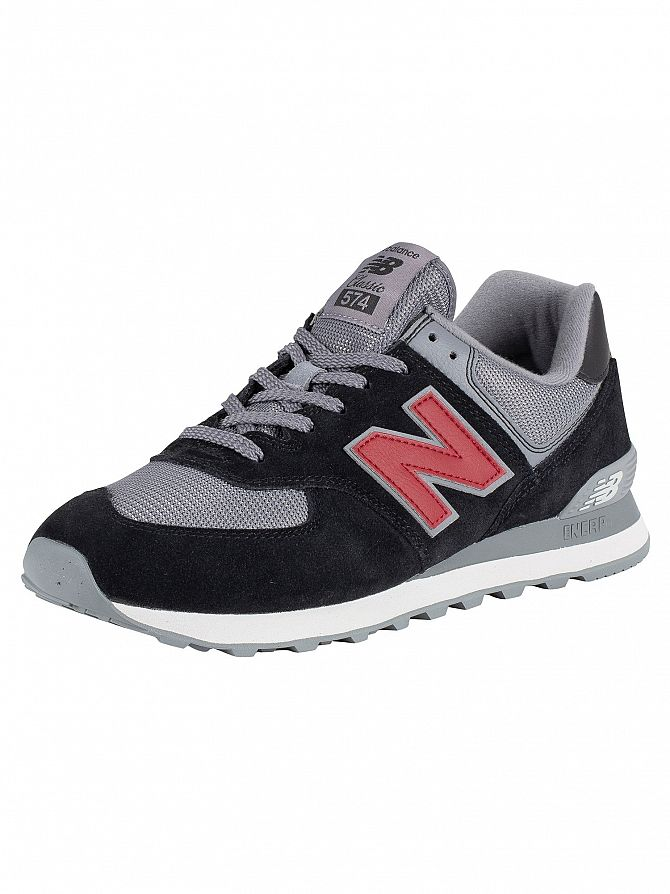 New Balance Black/Grey 574 Suede Trainers