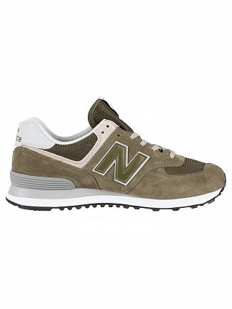 New Balance Green 574 Suede Trainers