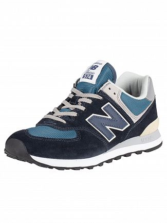 New Balance Black/Blue 574 Suede Trainers