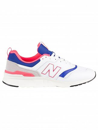 New Balance White/Blue/Pink 997 Leather Trainers