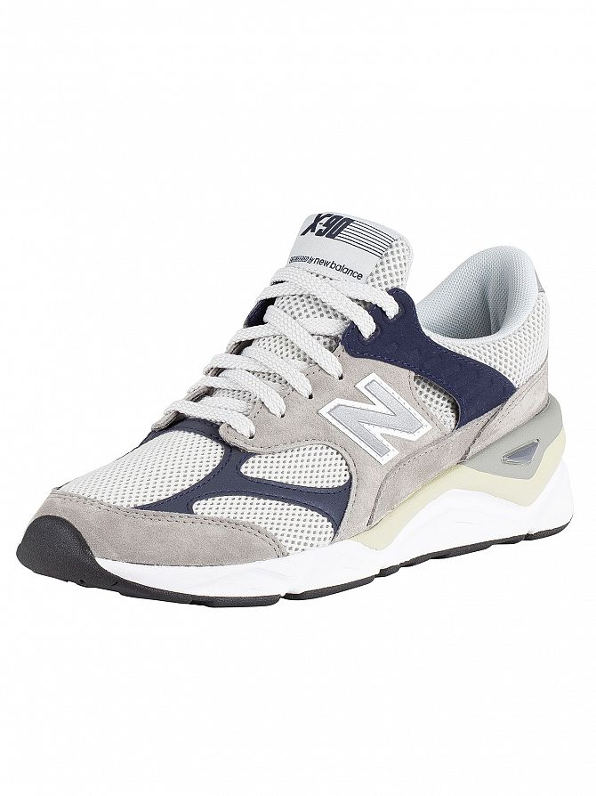 New Balance Grey/Navy X-90 Suede Trainers