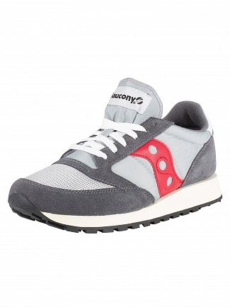 Saucony Grey/Red Jazz Original Vintage Trainers