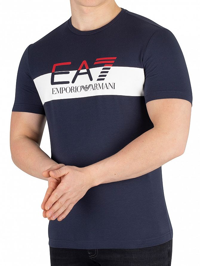 EA7 Navy Blue Graphic Jersey T-Shirt