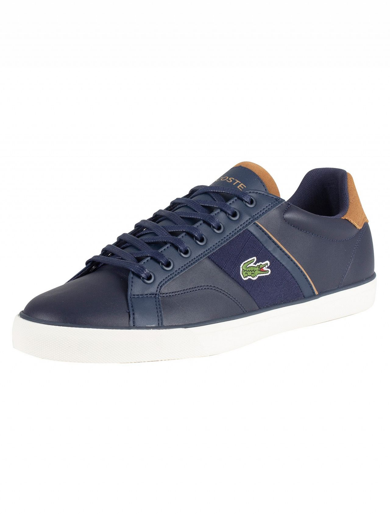 e994af7dced4 Lacoste Navy Light Brown Fairlead 119 1 CMA Leather Trainers