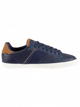 Lacoste Navy/Light Brown Fairlead 119 1 CMA Leather Trainers