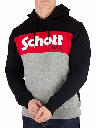 Schott Black/Grey/Red Graphic Pullover Hoodie