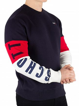 Schott Navy/Off White/Red Logo Sweatshirt