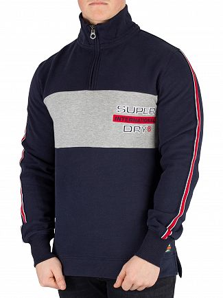 Superdry Highlands Navy Applique Colour Block Henley Zip Jumper