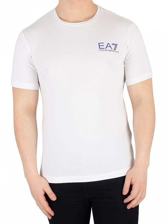 EA7 White Graphic Logo T-Shirt