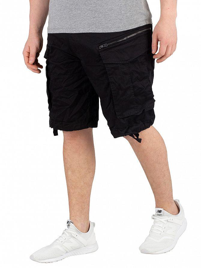 G-Star Black Rovic Zip Relaxed Cargo Shorts