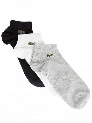 Lacoste Grey/Black/White 3 Pack Sport Ankle Socks