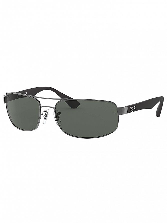 Ray-Ban Gunmetal/Black RB3445 Rectangular Sunglasses
