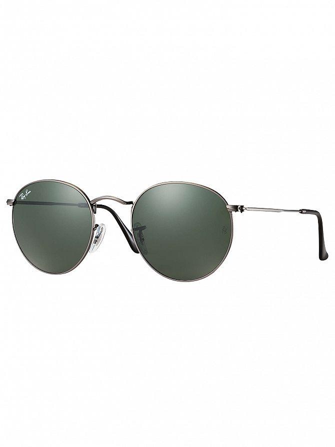 Ray-Ban Gunmetal RB3447 Round Metal Sunglasses
