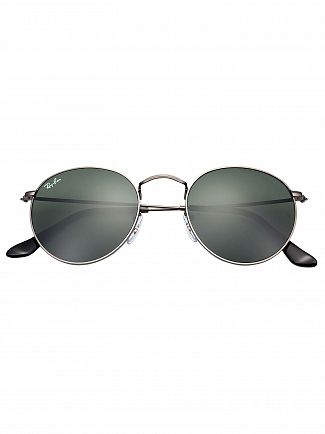 Ray-Ban Gunmetal RB3447 Round Metal Sunglasses