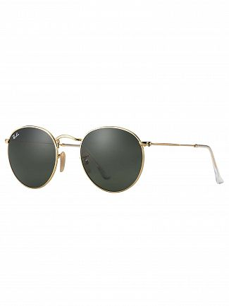 Ray-Ban Gold RB3447 Round Metal Sunglasses