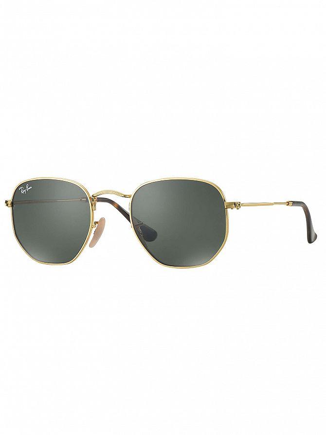 Ray-Ban Gold RB3548N Hexagonal Sunglasses
