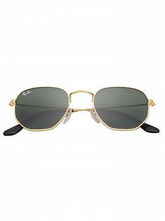 Ray-Ban Gold RB3548N Hexagonal Sunglasses
