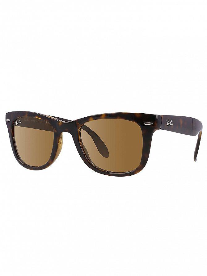 a52127b5ff Ray-Ban Men's RB4105 Wayfarer Folding Sunglasses, Brown | eBay