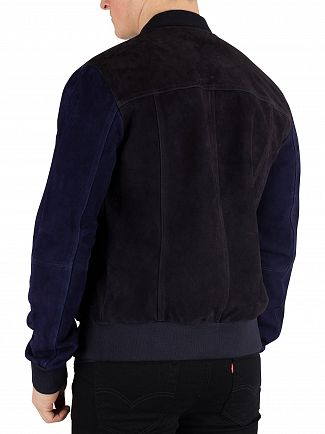 Scotch & Soda Navy Suede Bomber Jacket