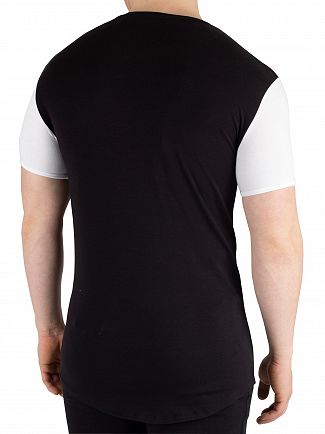 Sik Silk Black/White Contrast Gym T-Shirt
