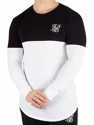 Sik Silk Black/White Cut And Sew Longsleeved Gym T-Shirt
